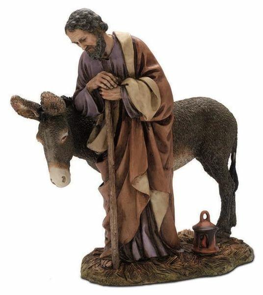 Immagine di San Giuseppe con asino cm 20 (7,9 inch) Presepe Landi Moranduzzo Statua in resina stile Arabo