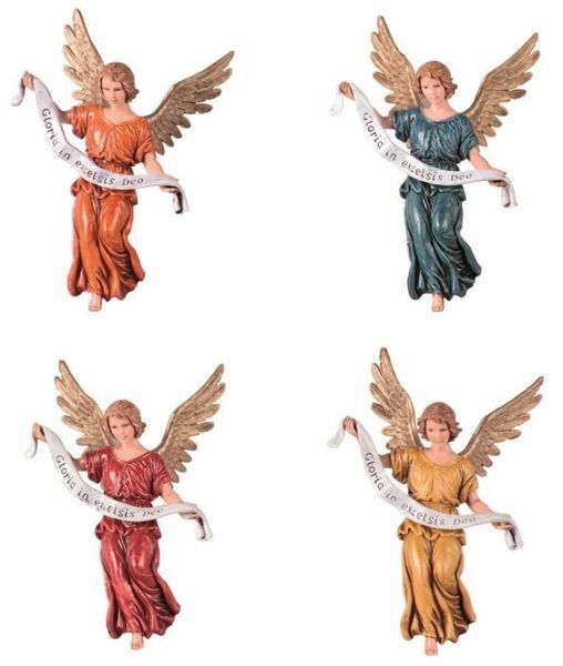 Picture of Glory Angel 4 colors Set cm 13 (5,1 inch) Landi Moranduzzo Nativity Scene plastic PVC Statues Arabic style