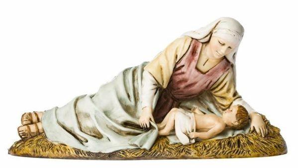 Imagen de Virgen acostada con el Niño cm 13 (5,1 inch) Belén Landi Moranduzzo Estatua de plástico PVC estilo árabe