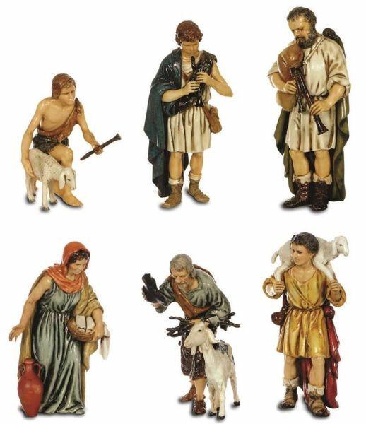 Picture of 6 Shepherds Set cm 13 (5,1 inch) Landi Moranduzzo Nativity Scene plastic PVC Statues Arabic style