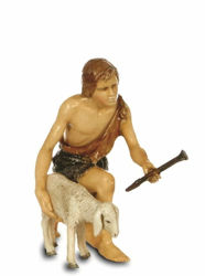 Picture of Kneeling Shepherd with Sheep cm 13 (5,1 inch) Landi Moranduzzo Nativity Scene plastic PVC Statue Arabic style