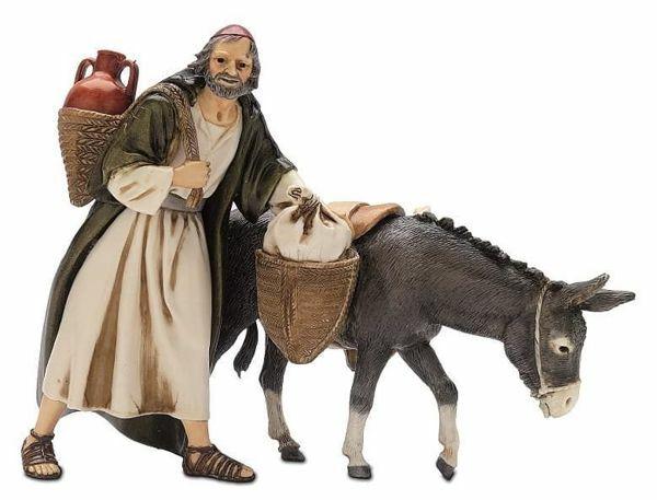 Imagen de Pastor caminando con Burro cm 13 (5,1 inch) Belén Landi Moranduzzo Estatua de plástico PVC estilo árabe