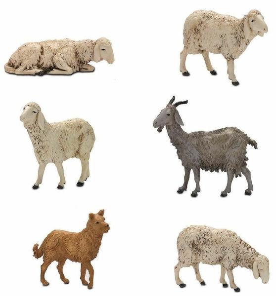 Picture of 4 Sheep Goat and Dog Set cm 13 (5,1 inch) Landi Moranduzzo Nativity Scene plastic PVC Statues Arabic style