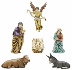 Picture of Holy Family Set 6 pieces cm 13 (5,1 inch) Landi Moranduzzo Nativity Scene plastic PVC Statues Arabic style
