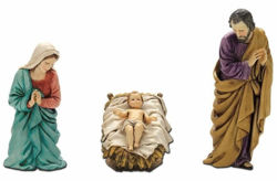 Picture of Holy Family Set 3 pieces cm 13 (5,1 inch) Landi Moranduzzo Nativity Scene plastic PVC Statues Arabic style