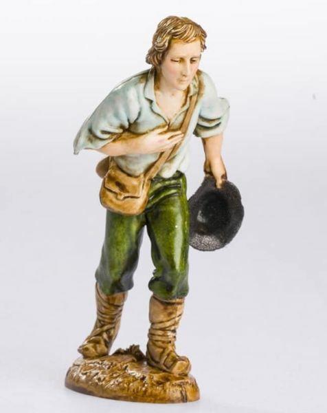 Immagine di Pastore con Cappello in Mano cm 12 (4,7 inch) Presepe Landi Moranduzzo Statua in plastica PVC stile Napoletano
