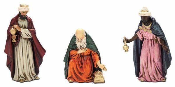 Immagine di Re Magi cm 12 (4,7 inch) Presepe Landi Moranduzzo Statua in plastica PVC stile Napoletano