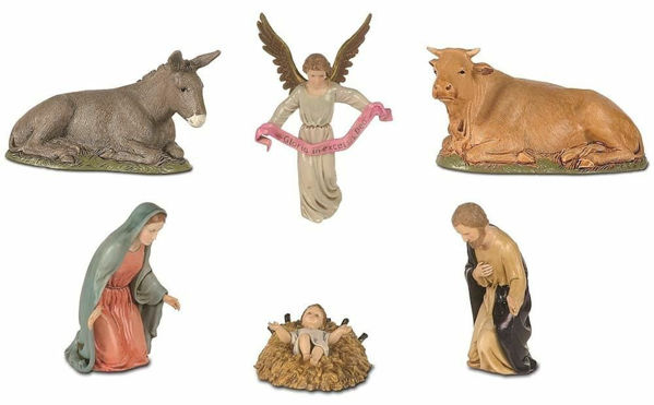 Picture of Holy Family Set 6 pieces cm 12 (4,7 inch) Landi Moranduzzo Nativity Scene plastic PVC Statues Neapolitan style