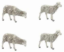 Picture of 4 Sheep Set cm 12 (4,7 inch) Landi Moranduzzo Nativity Scene plastic PVC Statues Neapolitan style