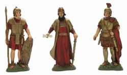 Immagine di Re Erode e 2 Soldati romani cm 12 (4,7 inch) Presepe Landi Moranduzzo Statua in plastica PVC stile Napoletano