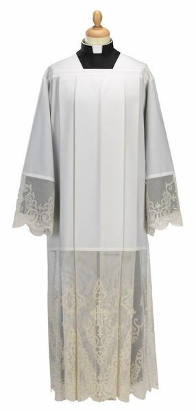 Picture of Liturgical Alb square collar marquisette Wool blend priestly Tunic Felisi 1911 Ivory