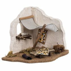 Picture of Carpet Seller Tent cm 12 (5 Inch) Fontanini Nativity Village in Wood, Cork, Fabric - handmade