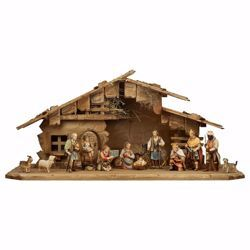 Picture of 16 Pieces Set cm 10 (3,9 inch) Hand Painted Shepherd Nativity Scene classic Val Gardena wooden Statue peasant style