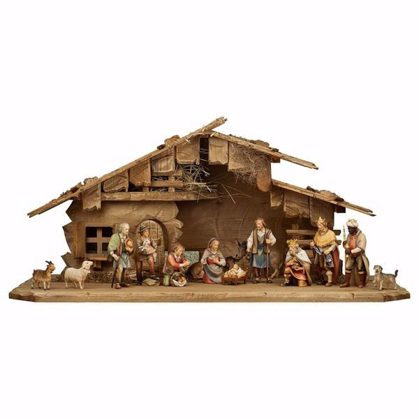 Imagen de Conjunto 16 Piezas Set cm 8 (3,1 inch) Belén Pastor Pintado a Mano Estatua artesanal de madera Val Gardena estilo campesino clásico