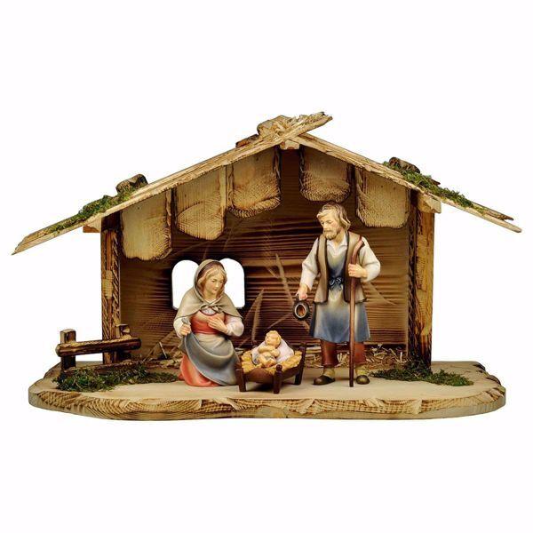 Imagen de Conjunto 5 Piezas Set cm 10 (3,9 inch) Belén Pastor Pintado a Mano Estatua artesanal de madera Val Gardena estilo campesino clásico
