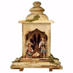 Picture of 5 Pieces Set cm 12 (4,7 inch) Hand Painted Shepherd Nativity Scene classic Val Gardena wooden Statue peasant style