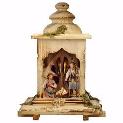 Picture of 5 Pieces Set with Light cm 12 (4,7 inch) Hand Painted Shepherd Nativity Scene classic Val Gardena wooden Statue peasant style