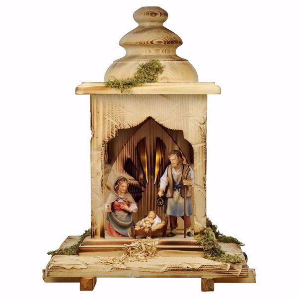 Imagen de Conjunto 5 Piezas Set con Luz cm 12 (4,7 inch) Belén Pastor Pintado a Mano Estatua artesanal de madera Val Gardena estilo campesino clásico