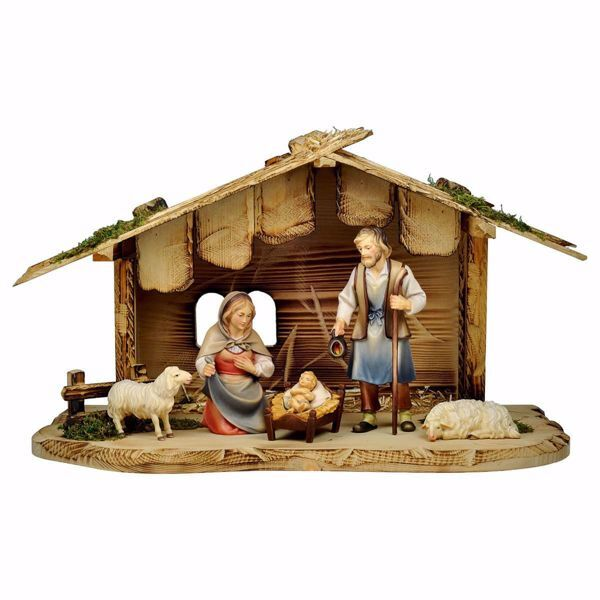 Picture of 7 Pieces Set cm 12 (4,7 inch) Hand Painted Shepherd Nativity Scene classic Val Gardena wooden Statue peasant style