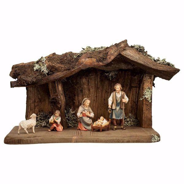 Imagen de Conjunto 7 Piezas Set cm 12 (4,7 inch) Belén Pastor Pintado a Mano Estatua artesanal de madera Val Gardena estilo campesino clásico