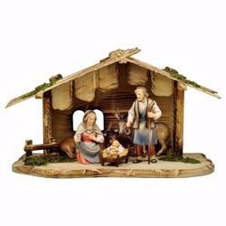 Picture of 7 Pieces Set cm 8 (3,1 inch) Hand Painted Shepherd Nativity Scene classic Val Gardena wooden Statue peasant style