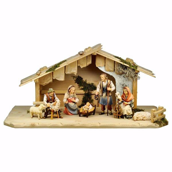 Picture of 9 Pieces Set cm 10 (3,9 inch) Hand Painted Shepherd Nativity Scene classic Val Gardena wooden Statue peasant style