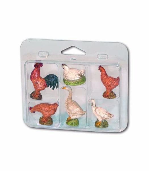 Immagine di Gruppo 6 Animali da cortile cm 12 (4,7 inch) Presepe Landi Moranduzzo in plastica (PVC) in stile Napoletano o Arabo