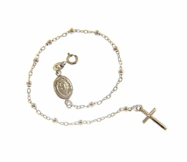 Picture of Rosary Bracelet Silver 925 Miraculous Medal Our Lady of Graces and Cross for Woman, Boy and Girl