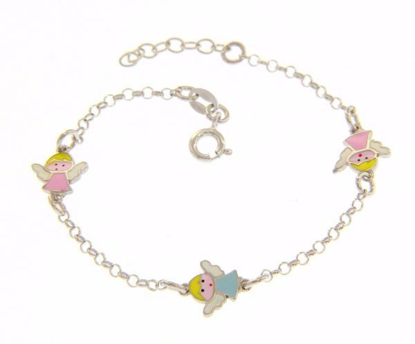 Picture of Bracelet Silver 925  and Enamels Three Guardian Angels for Baby and Girl