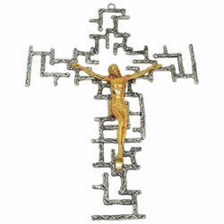 Picture of Wall mounted Cross cm 24x34 (9,4x13,4 inch) modern style with grids brass Crucifix for Church