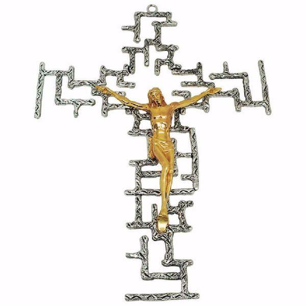 Immagine di Crocifisso da muro cm 24x34 (9,4x13,4 inch) stile moderno con griglie in ottone Croce da Parete per Chiesa