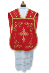 Picture of Fiddleback Roman Chasuble Clergy Planeta Damask Cotton blend Ivory white Violet Red Green