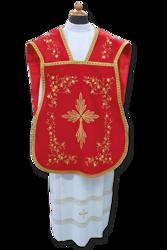 Imagen de Planeta litúrgica Damasco satén Algodón Blanco Marfil Morado Rojo Verde