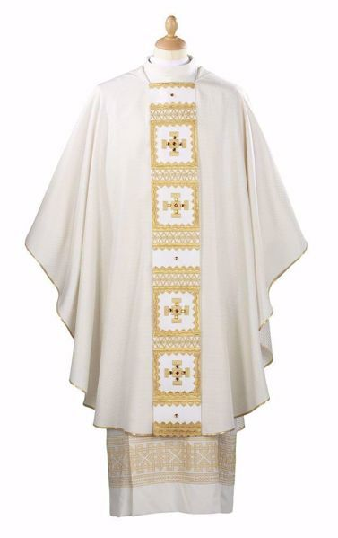 Picture of Multilight Liturgical Chasuble baroque stole Silk blend Red Olive Green Violet Ivory Felisi 1911