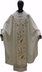Picture of Liturgical Chasuble Embroidered Grapes Wheat IHS in pure Wool Ivory Red Green Purple Chorus