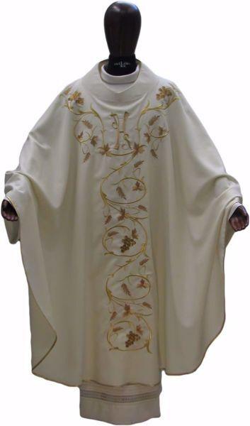 Immagine di Casula Liturgica Ricamo Uva Spighe IHS pura Lana Avorio Rosso Verde Viola Chorus
