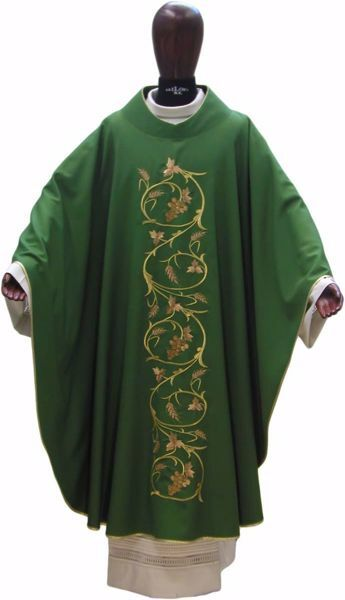 Picture of Liturgical Chasuble Embroidered Grapes Wheat in pure Wool Ivory Red Green Purple Chorus