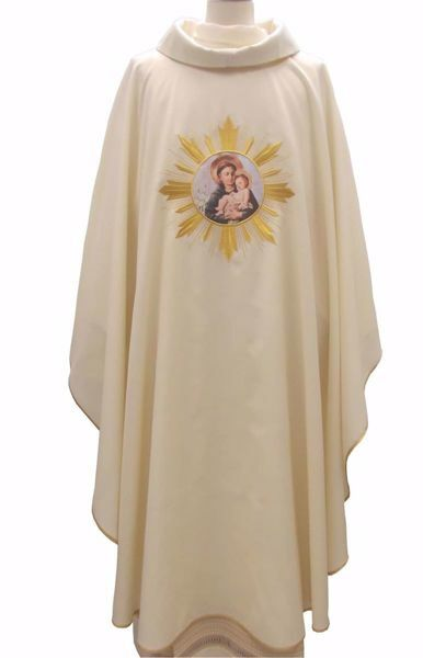Picture of CUSTOMIZABLE Liturgical Chasuble Embroidered Image upon request in pure Wool Ivory Red Green Purple Chorus