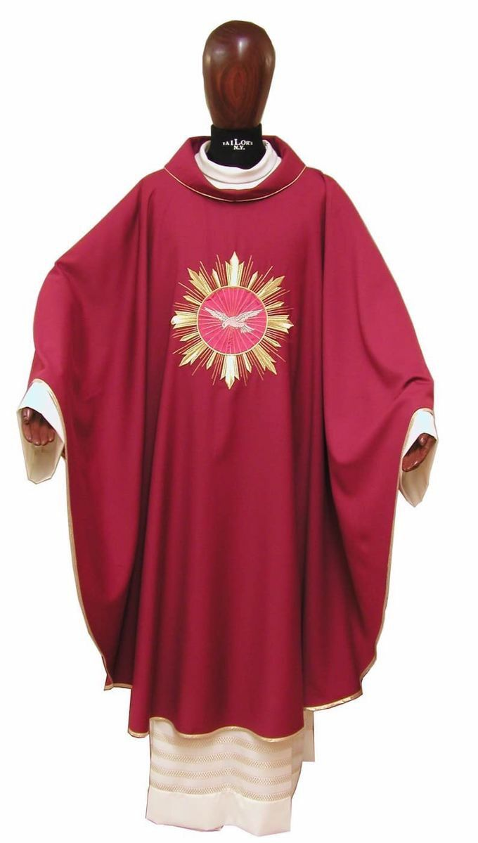 Liturgical Chasuble Embroidered Holy Spirit Golden Rays In Pure Wool Ivory Red Green Purple Chorus Vaticanum Com