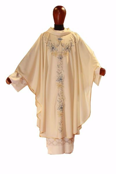 Picture of Marian Chasuble Embroidered Lilies and Spotlight Stones in pure Wool Ivory Chorus