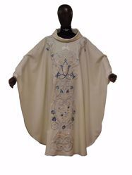 Picture of Marian Chasuble Rich bicolor Silver and Light Blue Embroidery & M Symbol in pure Wool Ivory Chorus
