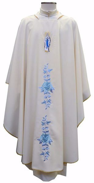 Picture of Marian Chasuble Embroidered Roses Madonna and M Symbol in pure Polyester Ivory Chorus
