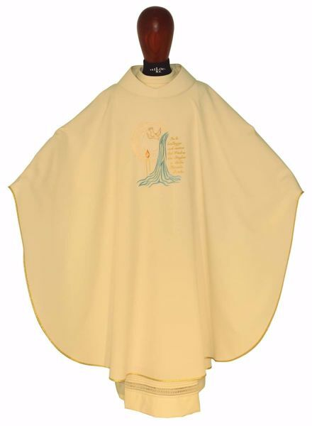 Picture of Sacrament Chasuble BAPTISM in pure Polyester Ivory Chorus