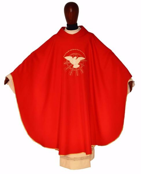 Picture of Sacrament Chasuble CONFIRMATION in pure Polyester Ivory Red Chorus
