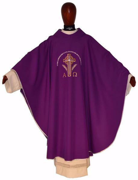 Picture of Liturgical Chasuble ETERNAL LIFE in pure Polyester Ivory Purple Chorus