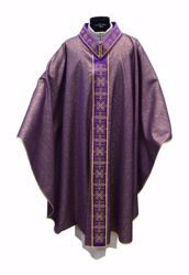 Picture of Gothic Chasuble in Laminated Wool Banded Collar with Embroidery Orphrey and Neck in Silk Spotlight Stones Ivory Red Green Purple Chorus