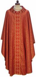 Immagine di Casula Gotica in pura Lana laminata Collo tondo Ricamo geometrico Stolone e Collo in Seta Avorio Rosso Verde Viola Chorus