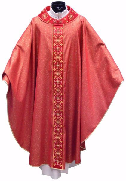 Picture of Gothic Chasuble in laminated Wool Round Collar Gold Embroidery & Stones Orphrey and Neck in Silk Ivory Red Green Purple Chorus