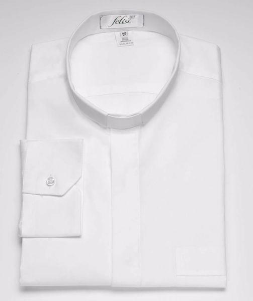 Immagine di Camicia Collo Clergy Collarino manica lunga puro Cotone Felisi 1911 Bianco Blu Celeste Grigio Chiaro Grigio Medio Grigio Scuro Nero