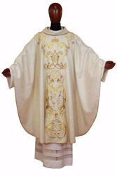 Picture of Marian Chasuble Rich bicolor Gold Embroidery & M Symbol in pure Laminated Wool Ivory Chorus